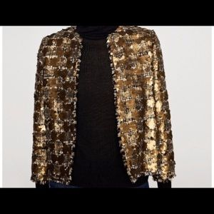 Zara Woman, Gold Tweed Sequin Blazer